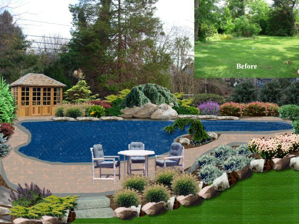 Landscape design by lee long island ny photo gallery for Pool landscape design